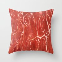 meat Throw Pillows featuring Meat! by Tiffany Chan Illustration
