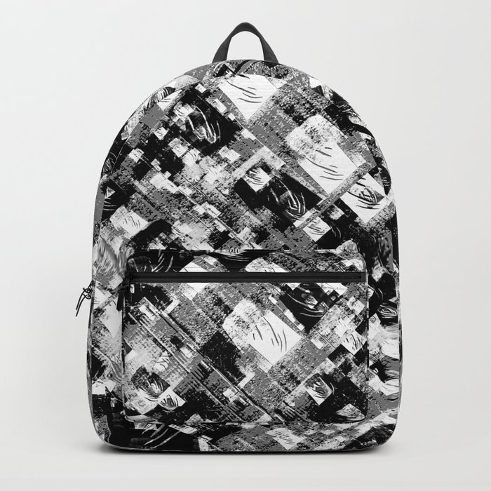 Black and White Patchwork Grunge Backpack