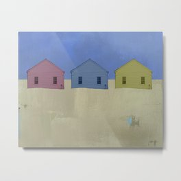 Beach Cottages, colorful houses, coastal, row houses Metal Print