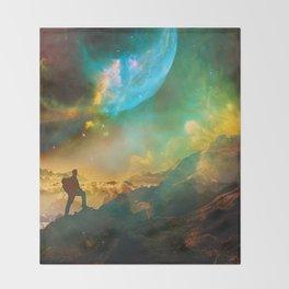 Vibrant Space Hiker Throw Blanket