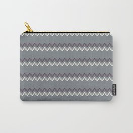 Grey Pixelated Chevron Pattern Carry-All Pouch