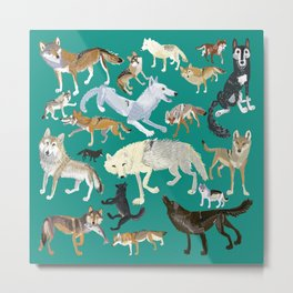 Wolves of the World green pattern Metal Print