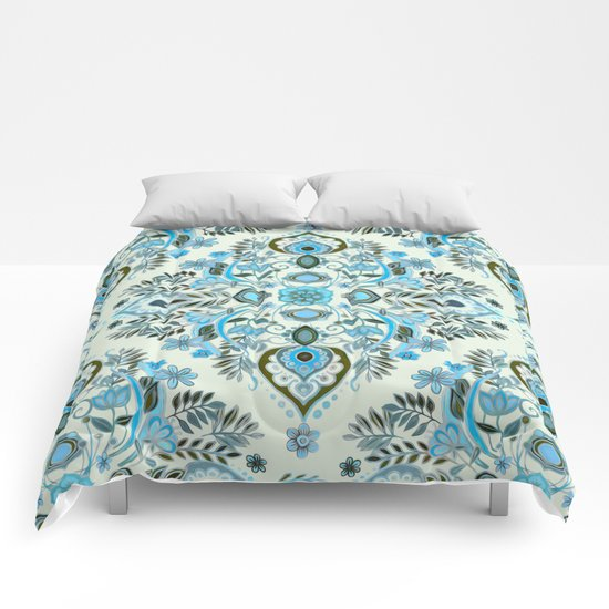 Modern Folk in Aqua and Umber Comforters