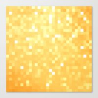 pixel Canvas Prints featuring Golden pixeLs by 2sweet4words Designs