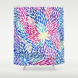 Flowing Leaves Purple & Blue Pattern Shower Curtain