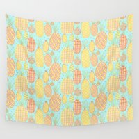 pineapples Wall Tapestries featuring Pineapples by stephstilwell