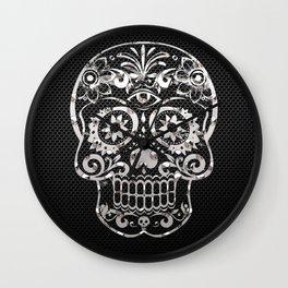 Skull 04,black silver metal art Wall Clock
