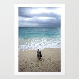 The blue sea Art Print