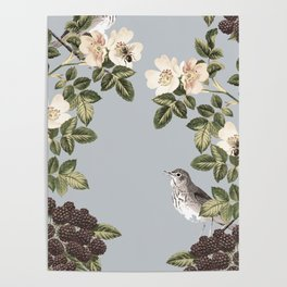 Birds and the Bees Gray Poster