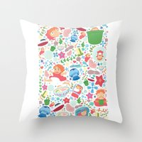 ponyo Throw Pillows featuring Ponyo Pattern - Studio Ghibli by Teacuppiranha