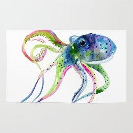 Blue Rainbow Octopus Rug