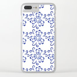 Abstract flowers in blue Clear iPhone Case