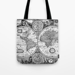 Black and White World Map (1651) Tote Bag