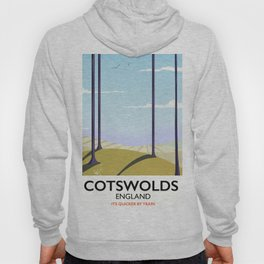 Cotswolds landscape travel poster Hoody