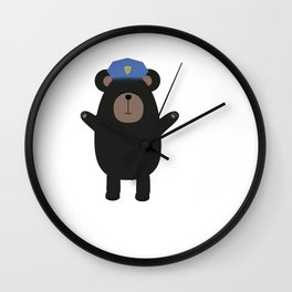 Happy Grizzly Police Wall Clock