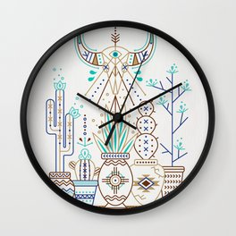 Santa Fe Garden – Turquoise & Brown Wall Clock