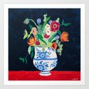 Bouquet of Flowers in Blue and White Urn on Navy by larameintjes