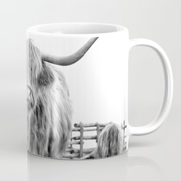 Highland Cow in a Fence Black and White Coffee Mug
