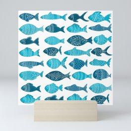 Folk art love / sea ocean fish // calming blue watercolor Mini Art Print