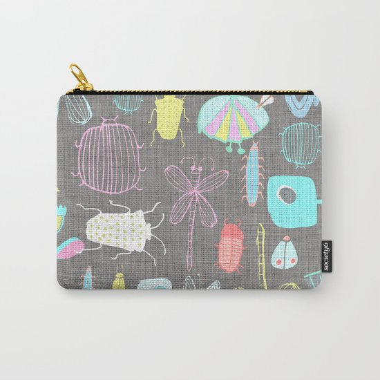 Insect watercolor grey textile texture Carry-All Pouch