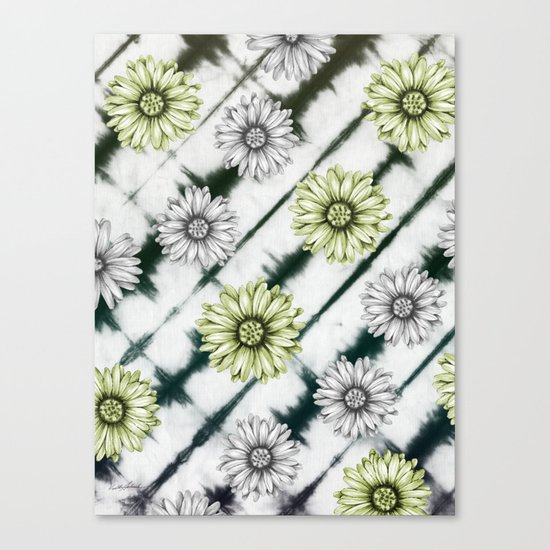 Green Daisies Smile Canvas Print