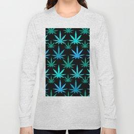 Marijuana Teal Turquoise Weed Long Sleeve T-shirt