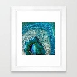 Aqua turquoise agate mineral gem stone Framed Art Print