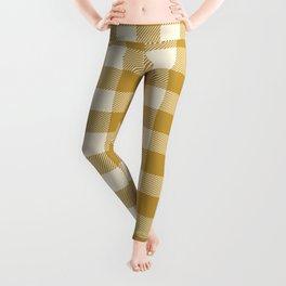 Buffalo Plaid Rustic Lumberjack Gold And White Check Pattern Leggings