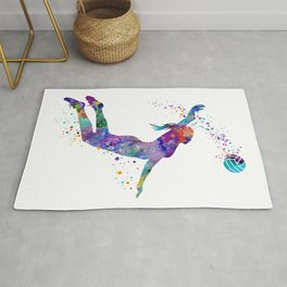 Volleyball Girl Colorful Blue Purple Watercolor Artwork Rug
