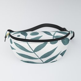 Watercolor berries and branches - teal grey Fanny Pack