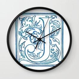 Letter J Elegant Antique Floral Letterpress Monogram Wall Clock