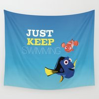 nemo Wall Tapestries featuring just keep swimming with nemo and dory by studiomarshallarts