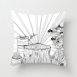 Mushroom Wonder Land Throw Pillow
