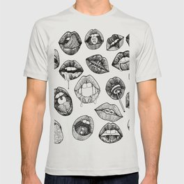 Hand Drawn Luscious Lips in Black and White T-shirt