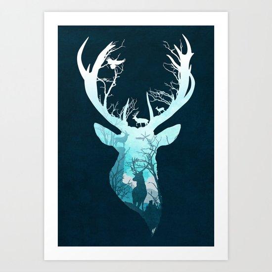 Deer Blue Winter Art Print