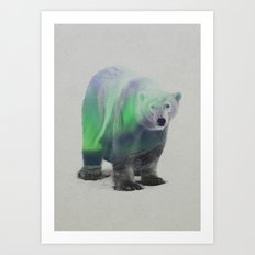 Polar Bear In The Aurora Borealis Art Print