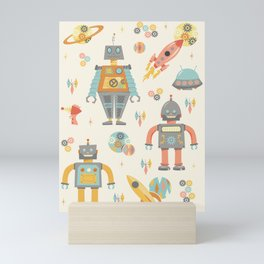 Vintage Inspired Robots in Space Mini Art Print