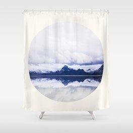 Mid Century Modern Round Circle Photo Graphic Design Navy Blue Arctic Mountains Shower Curtain