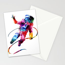Rainbow Astronaut Design Stationery Cards