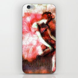 The Dancer by Edgar Degas Coral Red iPhone Skin