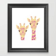 pinky giraffe sisters Framed Art Print