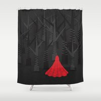 red riding hood Shower Curtains featuring Red Riding Hood by Illusorium