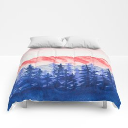 Navy and Coral Mountains Comforters