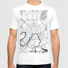 Moscow Map Gray MEDIUM White Mens Fitted Tee
