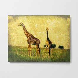 African Giraffe - Walking Africa Metal Print