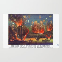 NEW YORK FIREWORKS city old map Father Day art print poster Rug