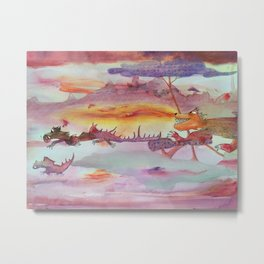 Chasing Dragons Metal Print