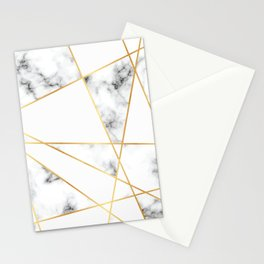 Stone Effects White and Gray Marble with Gold Accents Stationery Cards