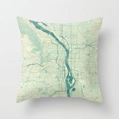 Portland Map Blue Vintage Throw Pillow