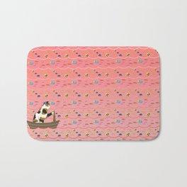Captain Cat in pink Bath Mat